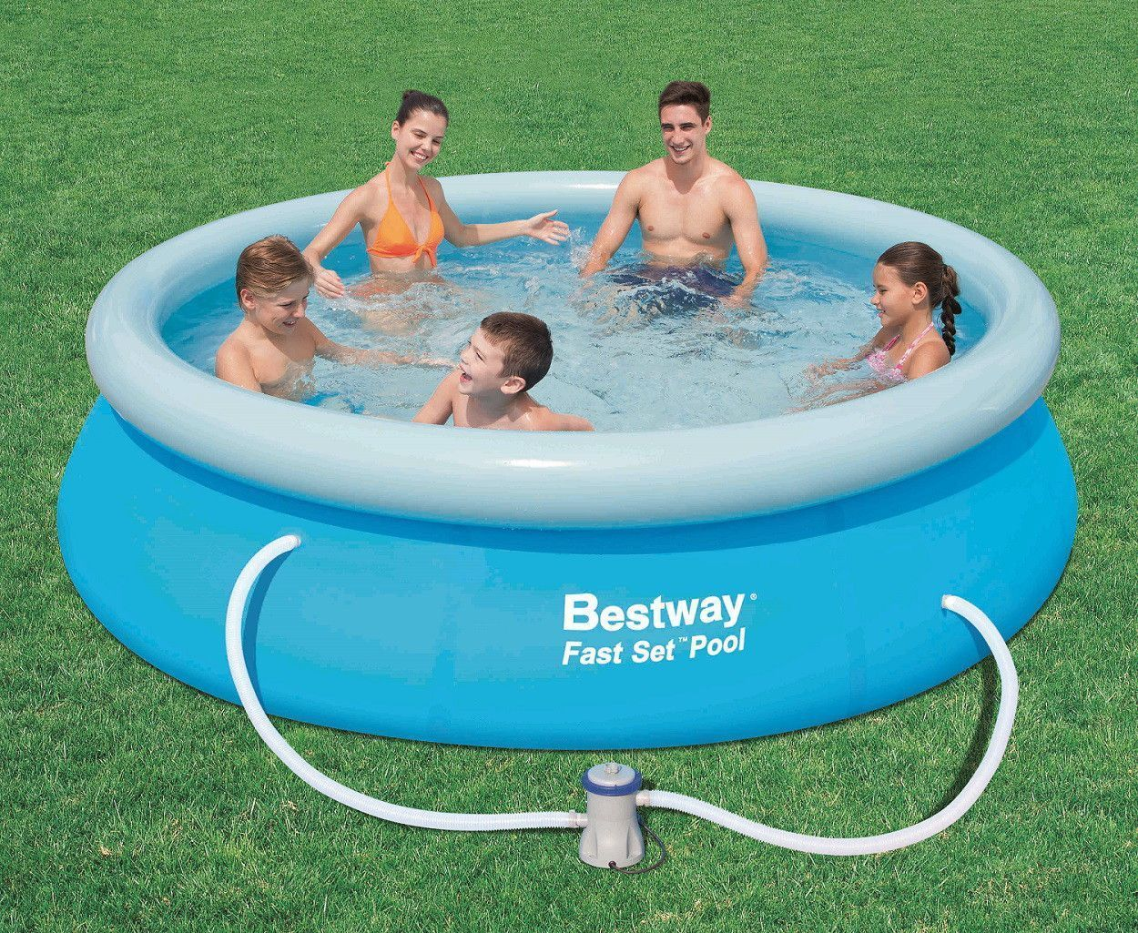 Piscina hinchable fast set de 274 x 76 cm con depuradora for Piscina pequena desmontable con depuradora