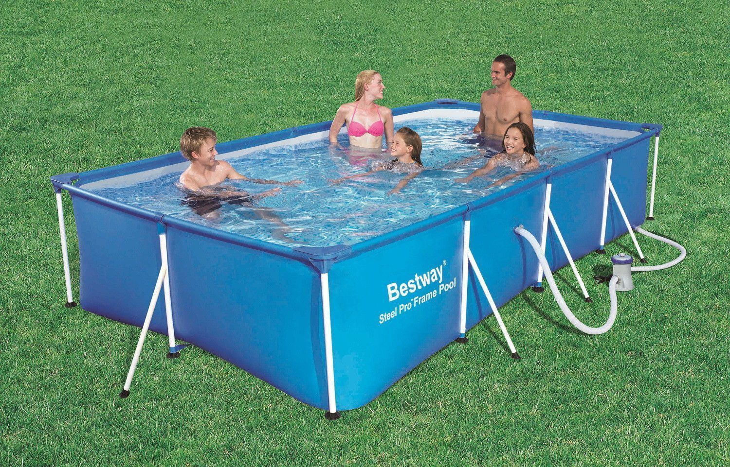 Piscina tubular rectangular azul 400 x 211 x 81 cm con for Piscina pequena desmontable con depuradora