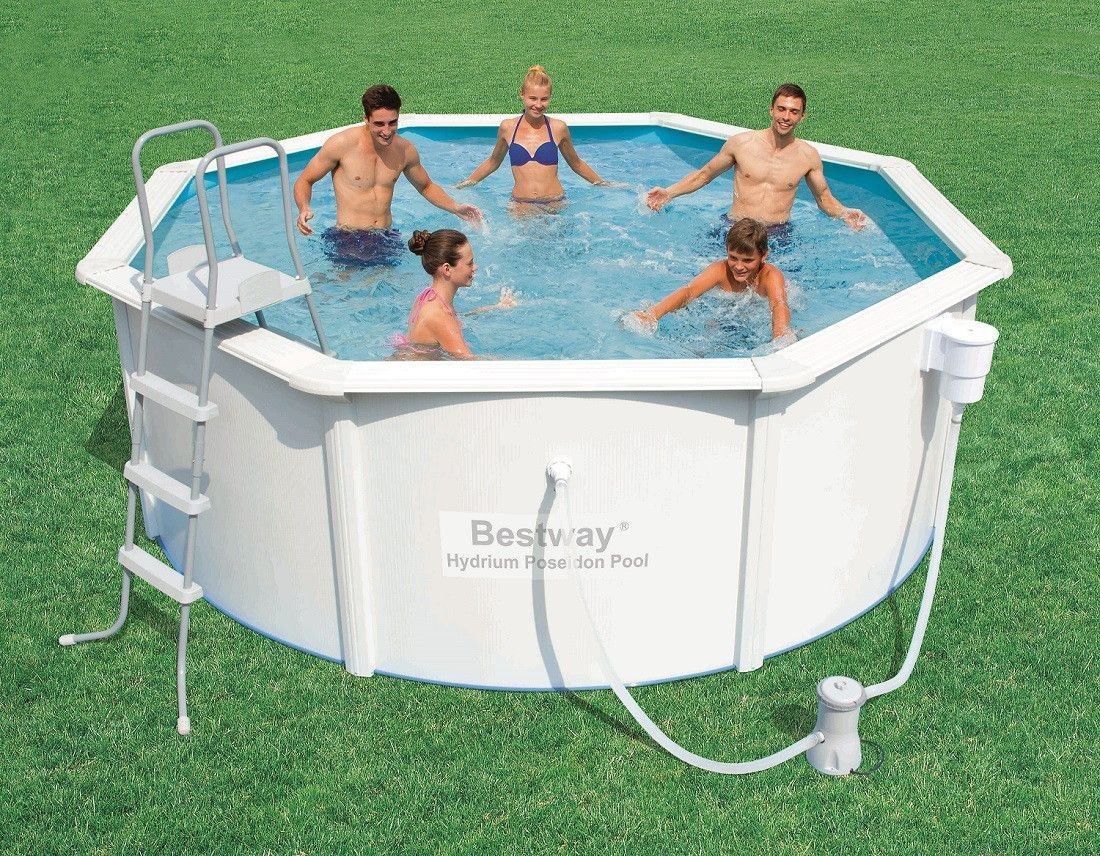 Piscinas de chapa de acero lacadas en blanco bestway for Piscinas intex baratas