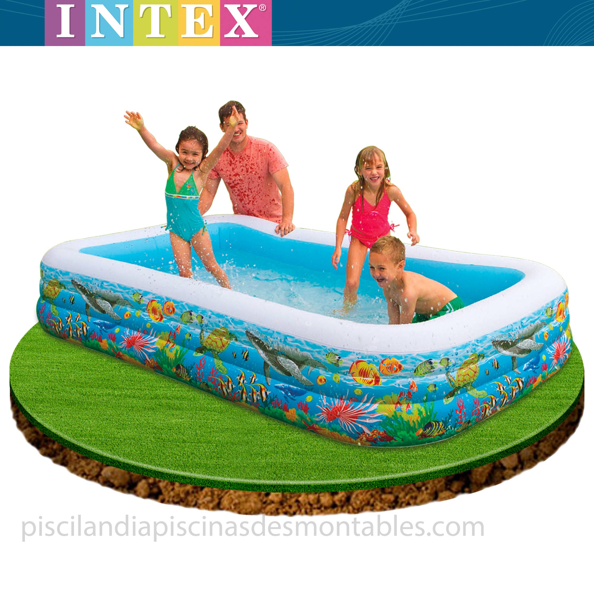 Piscina hinchable infantil modelo tropical medidas 305 x for Piscinas hinchables infantiles